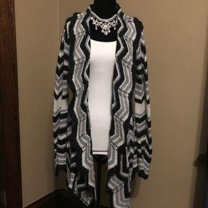 BCBC black & white crochet sweater size medium